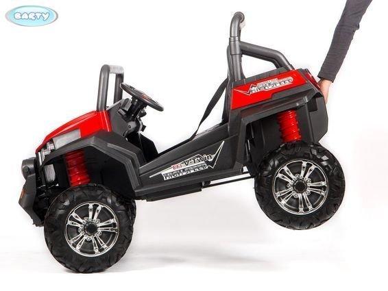 Электромобиль двухместный BUGGY S2588 красный (полный привод, резиновые колеса, кожаное кресло, пульт)