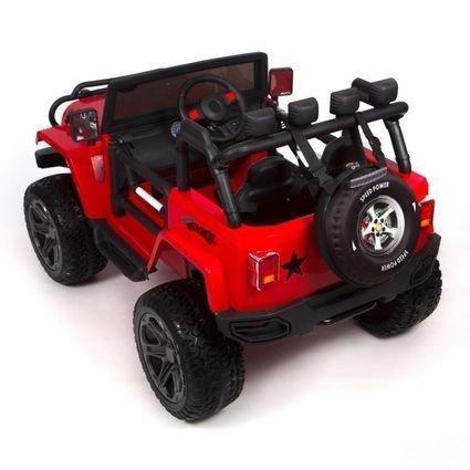 Электромобиль Jeep Wrangler 2WD WXE1688 красный (2х местный, задний привод, колеса резина, сиденье кожа, пульт, музыка)