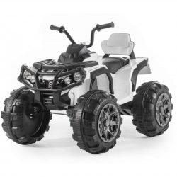 Электроквадроцикл Grizzly 2WD белый (АКБ 12v, колеса резина, сиденье кожа, пульт, музыка)